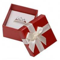 Quality White Ribbon Jewelry Paper Boxes Red Printing Eco Friendly Material For Ring Gifts for sale
