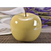 Buy cheap Decorative Ceramic Wedding Table Centerpieces Yellow Glazed Apple Shaped product