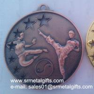 China Die Cast Metal Kungfu Medals, Die Casting 3D Raised Kungfu Winner Medals wholesale