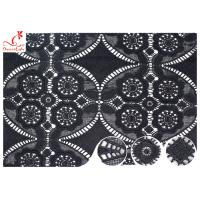 China 47 Inch Black Embroidered Lace Fabric For Dressmaking / Floral Embroidered Trim on sale