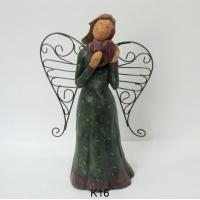 Red Heart Metal Wings Angel Figurines / Smiling Fairy Garden Ornaments