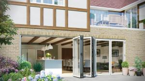 Buy cheap High Light Transmission aluminum bifold patio doors Wide Open For Luxury Villas product
