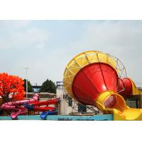 Quality Large Swimming Pool Water Slides , Outdoor Commercial Fiberglass Funnel Water Slide for sale