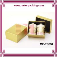 China Yellow printing Set up Cardboard 2 piece candles Packaging Paper Box with black Insert on sale