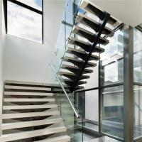 Quality Mono stringer staircase design with wood tread glass railing for sale