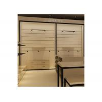 Buy cheap Height 240CM  Wall Mounted Display Cabinets With Wood Shelf Metal Hanging Bar from wholesalers