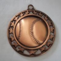China Metal hollow baseball medal, zinc alloy blank hollowed baseball medallion, bronze plated, wholesale