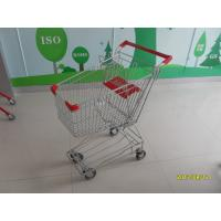 China 60L Normal Wire Shopping Trolley with red plastic parts TUV CE SGS Metal Shopping Trolley wholesale