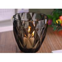Buy cheap Coloring Material Wedding Glass Candle Holder With Diamond Design , eco Friendly product
