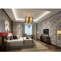 Buy cheap Embossed 3D Floral Vinyl Country Style Wallpaper Light Grey Moisture Proof product