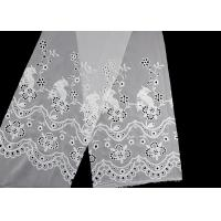 China 49 Inch Chiffon Embroidered Lace Fabric With Floral Bird Eyelet on sale