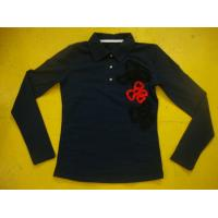 Buy cheap Cotton Spandex Bows Front Girls Stylish Top Rib Neck Long Sleeve Polo Shirts Kids product