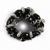 Buy cheap Handwork Metal Bracelet with Acrylic and CCB Decoration, Graceful Design, OEM Orders are Welcome product