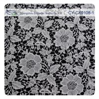 China Chemical Polyester Lace Fabric , Flower Embroidery Lace For Bridal Dress on sale