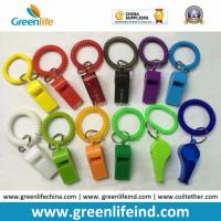 China Promotional Gift Colorful Best Wrist Strap Coil W/Plastic Whistle on sale