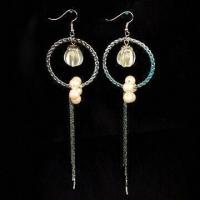 Buy cheap Nickel-free Earrings, Fashionable Design, Made of Metal, Plastic Beads and Imitation Peals product