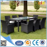 China Handmade Wicker Dining Set 7pcs With Parasol Hole Outdoor Furnitures for Home wholesale