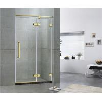 Buy cheap Golden Bronze Inline Frameless Corner Shower Doors 10mm Tempered Glass CE / SGCC product