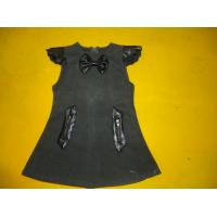 Buy cheap Cap Sleeves Little Girls Winter Dresses Leather Blocked Bows A Line Kids Woolen Dress product