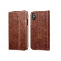 Buy cheap Soft iPhone X Genuine Leather Wallet Case / Protective Leather Folio Case product