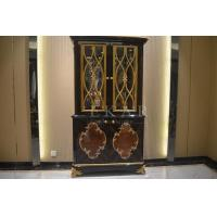 Buy cheap Living Room Antique Wood Furniture Glass Cabinet 2 Doors Golden Color TP-025B product