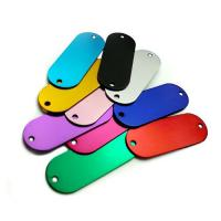 China Colored Anodized Custom Engraved Dog Tags Runway Shape With Two Holes on sale
