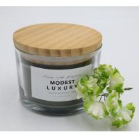 Buy cheap Straight cup with color label 280g wax filling candle glass with wooden lid product