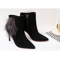 Buy cheap Pointed Toe Ankle Length Boots Sheep Suede High Heel Ankle Shoes With Fox Fur Ornaments product