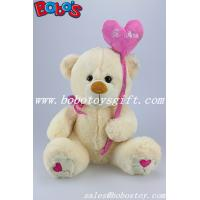 Buy cheap Beige Plush Stuffed teddy bear with Pink love heart style balloon product