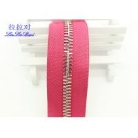 Buy cheap High Polished Gold Long Chain Zipper Pink Polyester Tape For Garments / Bags product