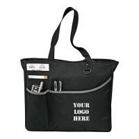 Recycled Custom Black Polyester Tote Bags Logo Printed For Travel