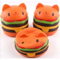 China Cute Bread Jumbo Cat Head Burger Soft PU Stress Relief Slow Rising Squishy Scented Toys For Kids / Adults on sale