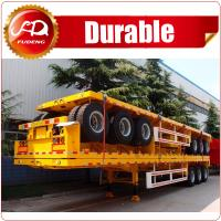 China Hot Sale Tri-axle 20ft 40ft flatbed trailer , 40 ton flatbed semi trailer , flatbed trailer with container locks on sale