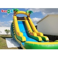 China Backyard Double Lane PVC Jungle Inflatable Stair Water Slide With Pool on sale