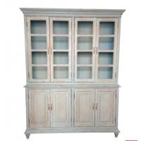 China french solid oak wood antique style vintage antique wooden and glass bookcase on sale