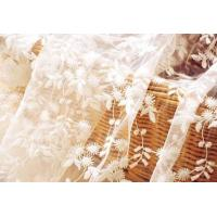 China White Flower Embroidered Nylon Mesh Lace Fabric , Wedding Bridal Dress Lace Fabric on sale