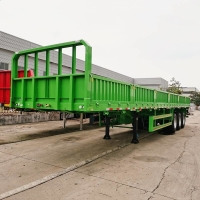China CIMC Tri Axle 60Ton Drop Side Semi Trailer Manufacturer For Sale on sale