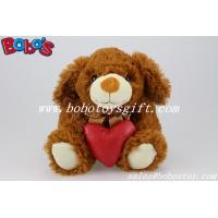 Buy cheap Dark Brown Plush Stuffed Dog Animals With Red Heart Pillow product