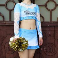 China Cool Custom Crystal Soft Cheerleader Costume Uniforms With Mesh And Lace Fabric on sale