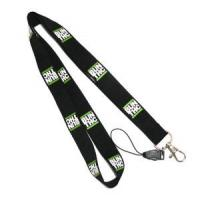 Buy cheap Detachable Ribbon Cell Phone Plain Black Lanyards With Silk Screen Print Logo product