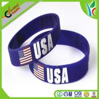 China Flexible Personalized Rubber Wristbands Flag With Customized Logo wholesale