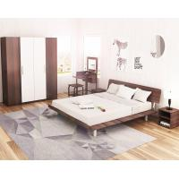 Buy cheap Simple Japanese tatami type bed 1.5 meters MDF with metal double bed and 1.8 single bed 1.2 modern creative walnut color product