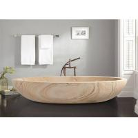 China Oval Shaped Durable Natural Stone Bathtub Sandstone Travertine Material on sale