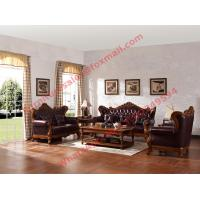 Buy cheap European Classic Solid Wooden Carving Frame with Italy Leather Upholstery Sofa Set product