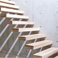 China Customized wood floating stairs with prefab steel stair railing on sale