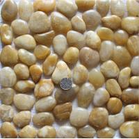 Buy cheap Yellow Pebble Mosaic,Yellow Cobble Stone On Mesh,River Stone Mosaic Sheet,Meshed Pebbles product