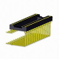 Buy cheap 2.54mm Right Angle IC Socket with PCB Connector and 9.86 to 24.88mm Pin Length product