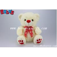 Buy cheap CE Approved Safety Soft Stuffed Teddy Bear In Beige Color With Red Nose Paw and Ribbon product