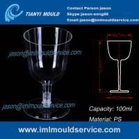 Buy cheap PS clear disposable plastic red wine / champagne glasses and cups 3.3 oz /100ml mould product