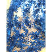 Quality 3D Rhinestone Beaded Tulle Fabric , Embroidered Royal Blue Lace Fabric For Bridal Gown for sale